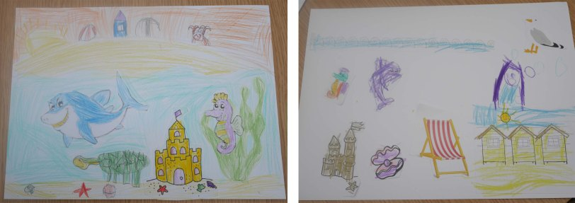These postcards were made by a 6 and a 4 year old today. I love that they have drawn part of the design themselves.